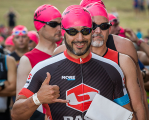 Bright colored swim caps are used to make you more visible in the water